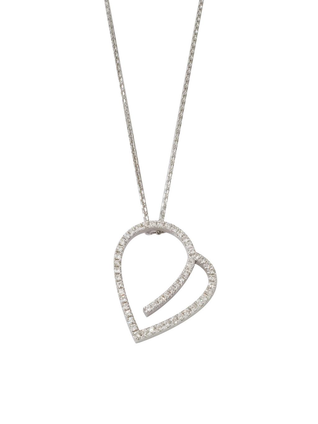 Herzkette mit Diamanten 0,37 ct, aus 18 karat Weißgold