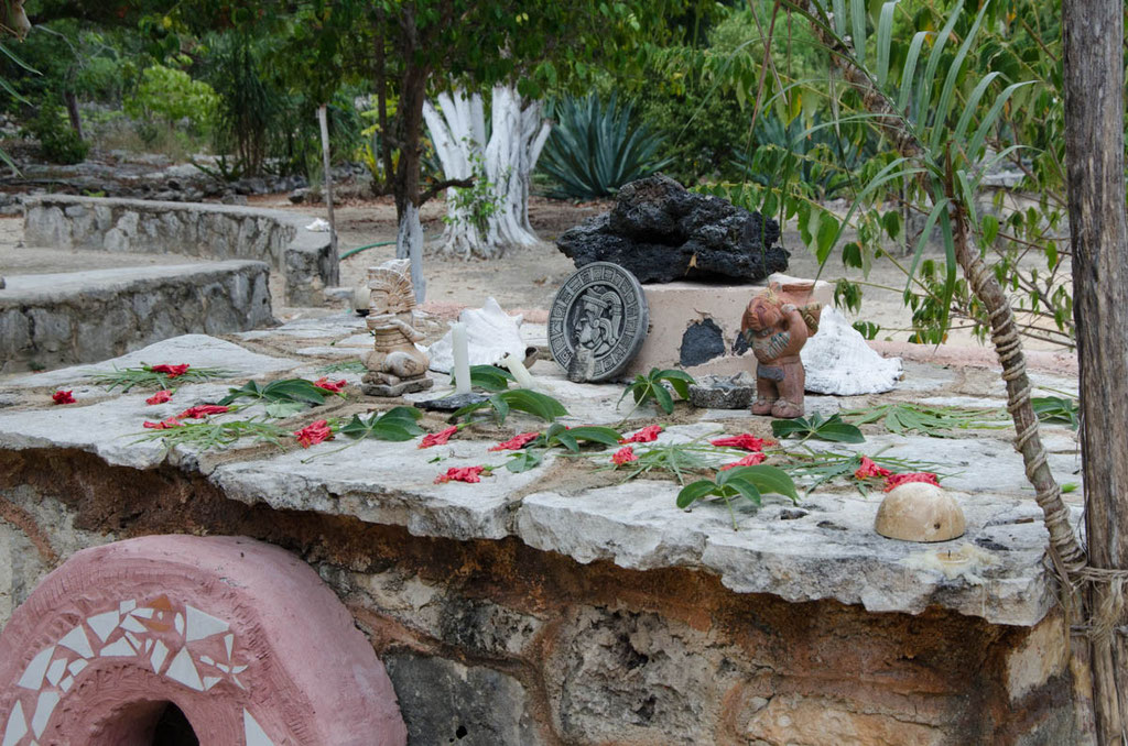 Opferstätte der Maya für Touristen zu sehen