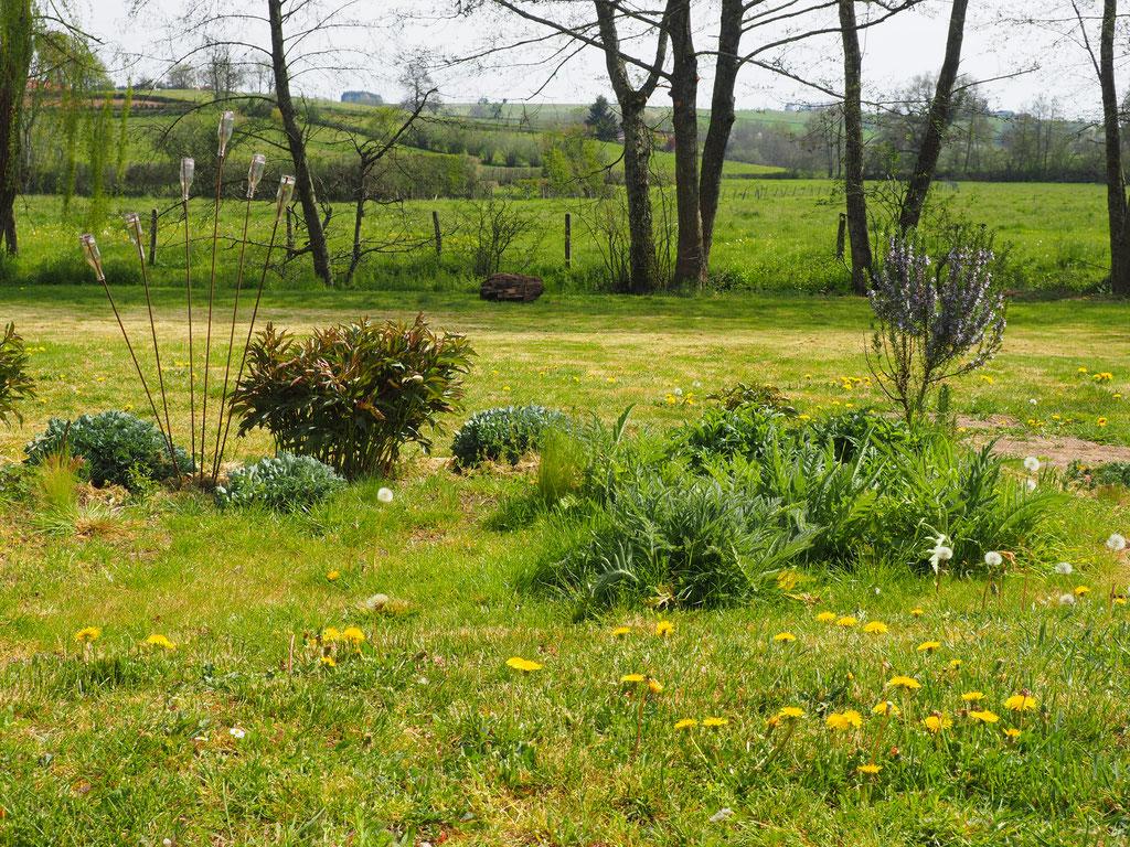Blick vom Liegestuhl über den Garten, Richtung Süden
