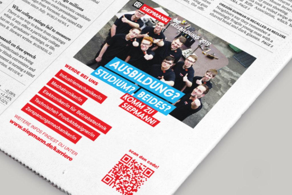Azubi Werbekampagne Zeitungsanzeige