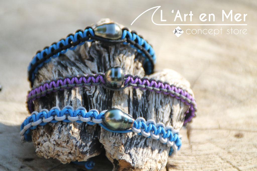 L'art en mer concept store surf shop les lecques bracelets hommes perle de Tahiti