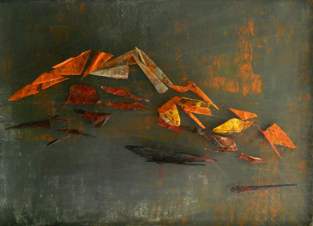 Tass Wolf - Berg 2 - 2012 - Öl auf Leinwand, Papier, Fäden - 137 x 185 cm