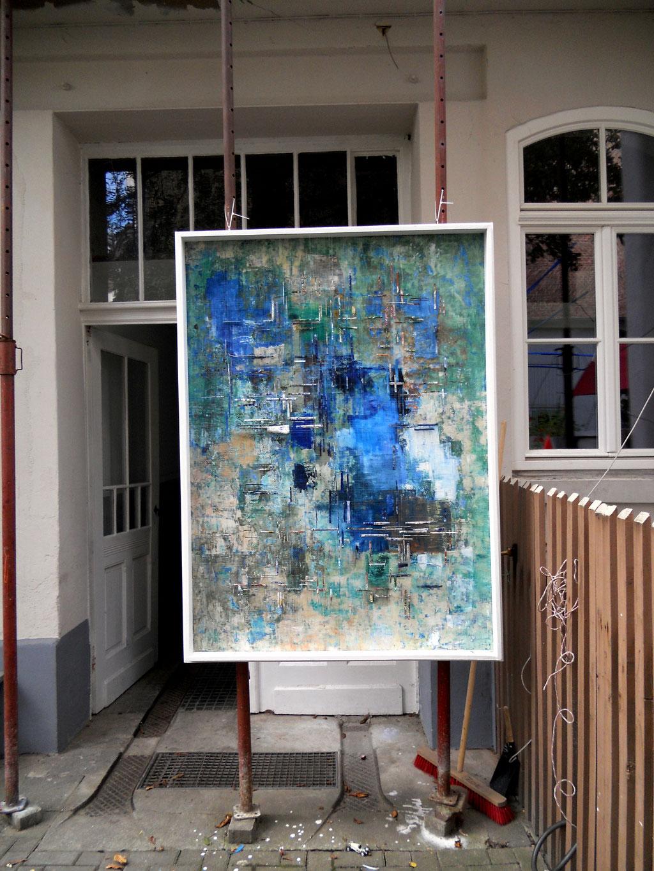 Tass Wolf - Schwimm - 2011 - Öl auf Leinwand, Papier, Fäden - 185 x 137 cm