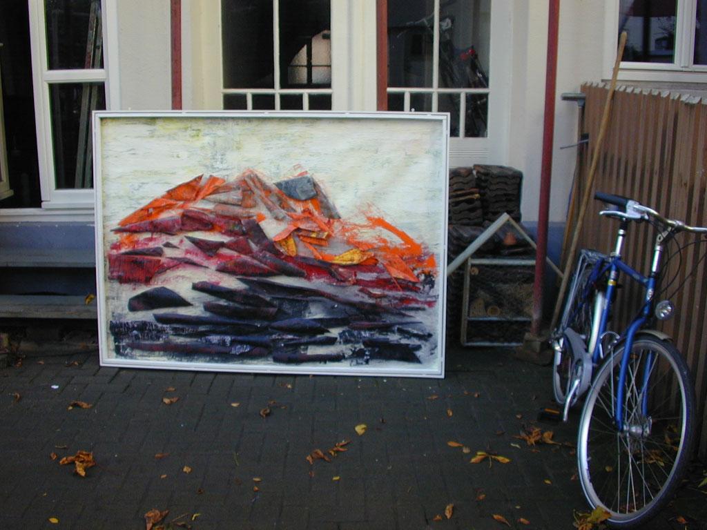 Tass Wolf - Berg 3 - 2013 - Öl, Lack auf Leinwand,Papier, Fäden - 137 x 185 cm