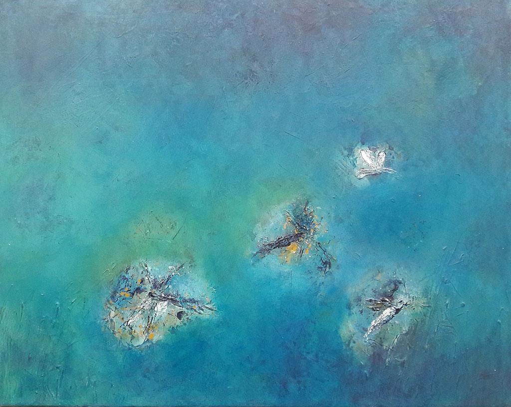 """Libellen im Sommer am See"" (80 x 100 cm)"