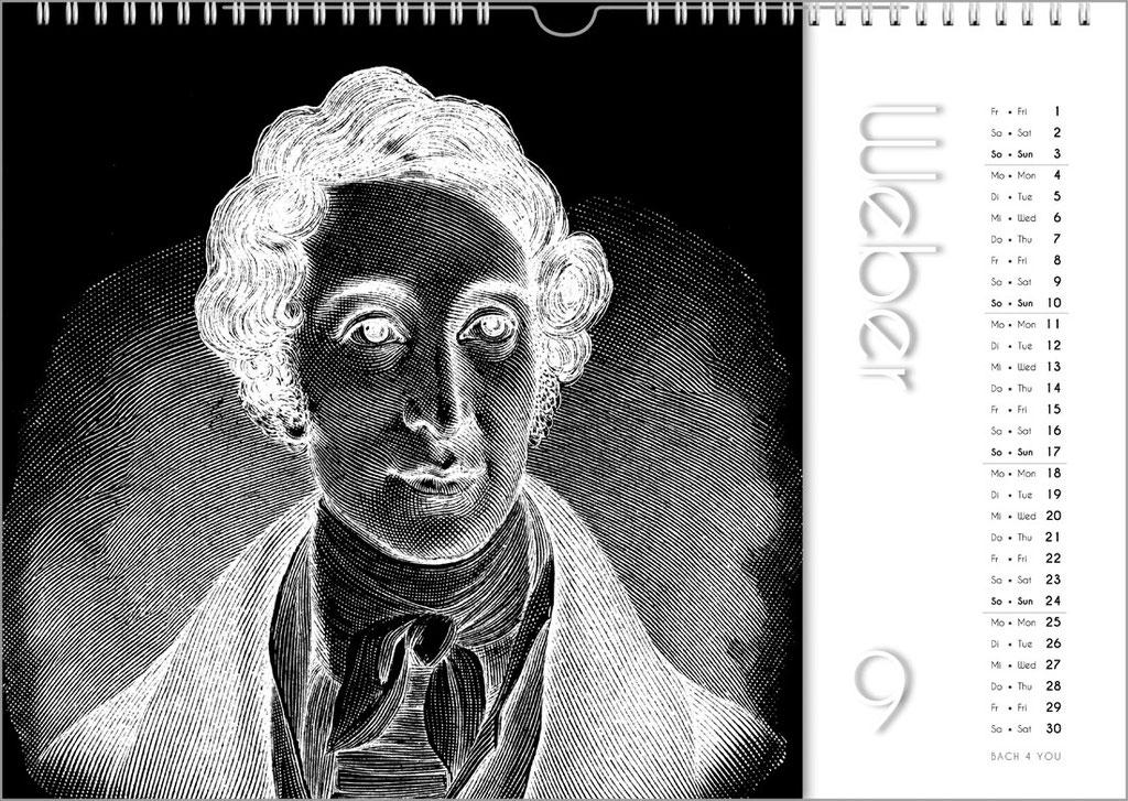 99 Orgelkalender, Musikkalender, Komponisten-Kalender, Bach-Kalender.