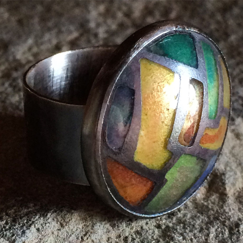 Champlevé ring. Enamel copper sterling. Collection of Teresa Carter.