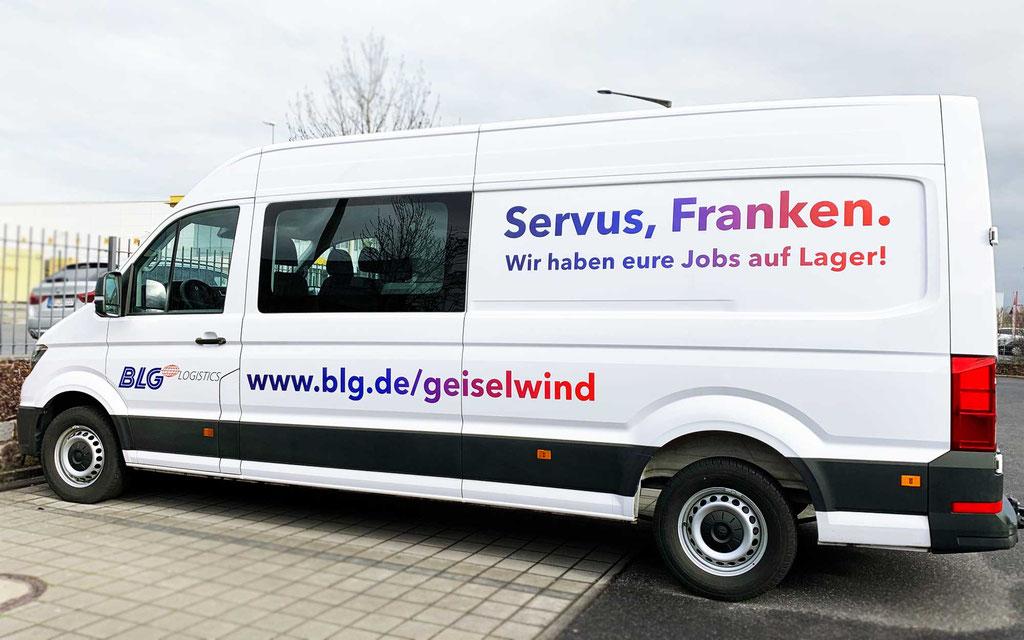 Fahrzeugbeklebung für BLG Logistics in Geiselwind; Fahrzeugwerbung, Autobeschriftung