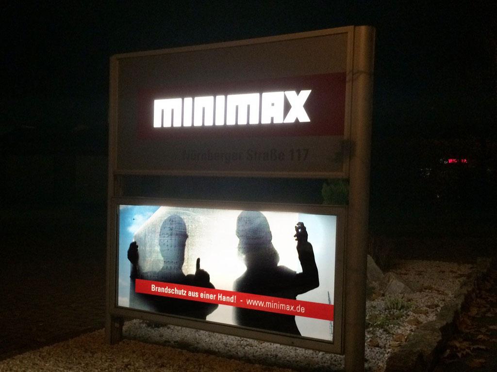 Beleuchtete Werbeanlage, Firmenschild, Werbetechnik