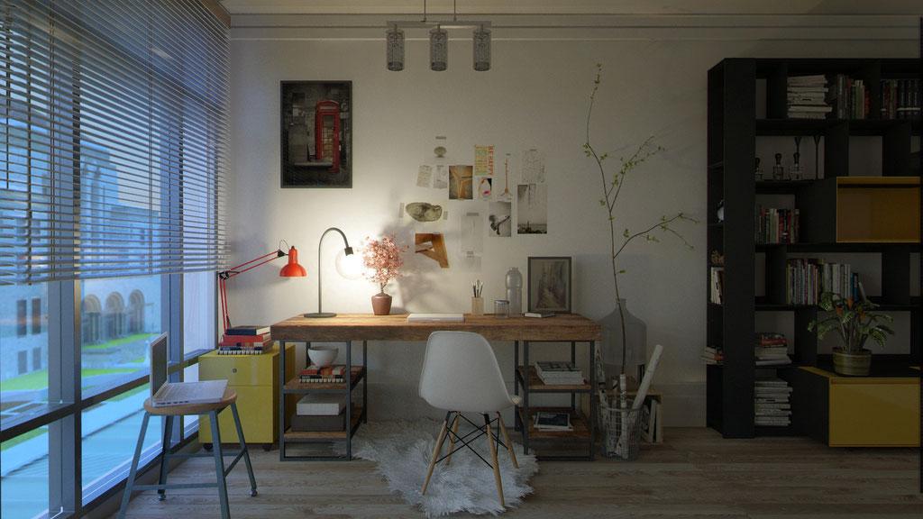 Habitación reconvertida en zona de trabajo. Anochecer