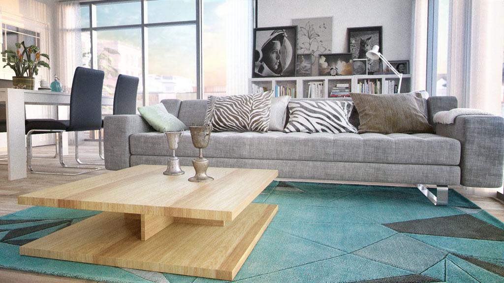 Detalle - Salón y cocina americana en 3D. Propuesta 01