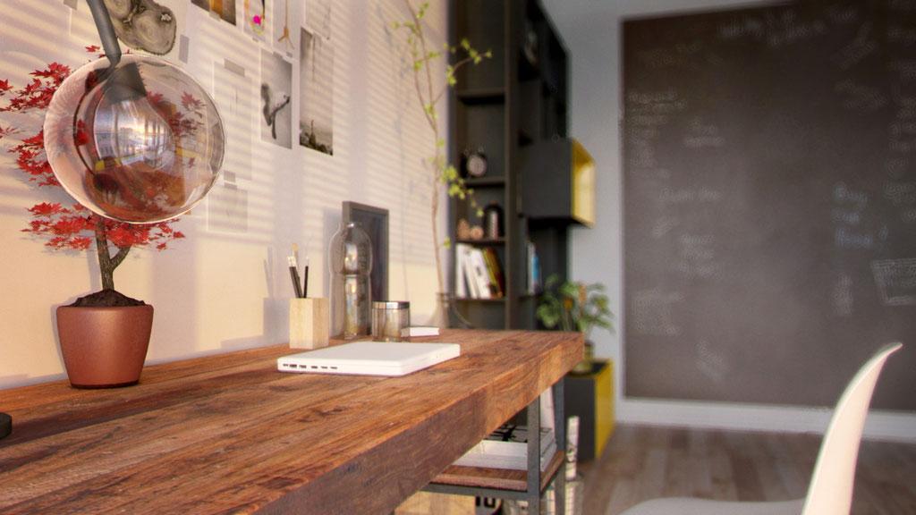 Detalle en 3D de habitación reconvertida en zona de trabajo