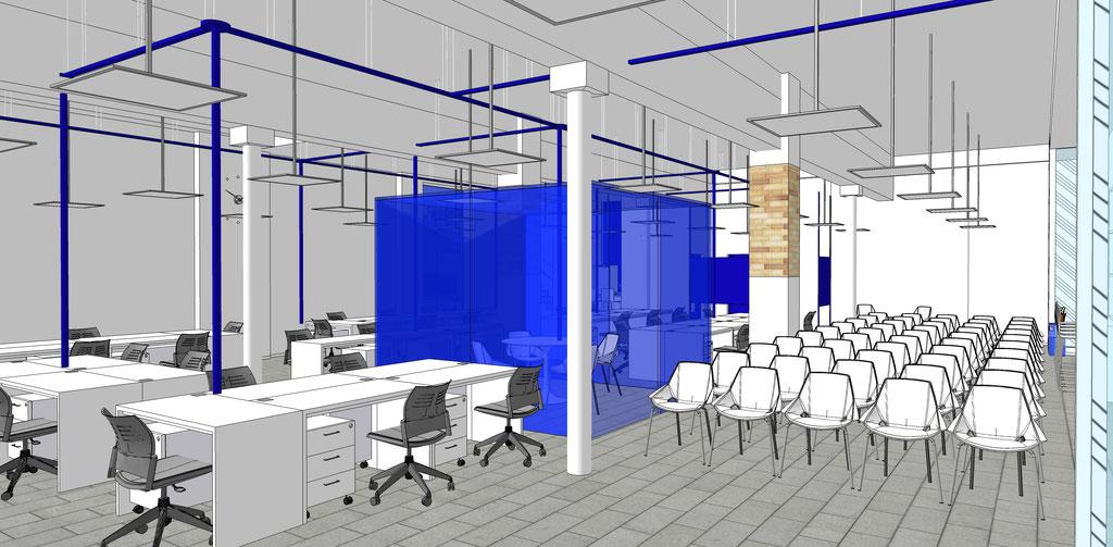 Vista conceptual del espacio de trabajo central