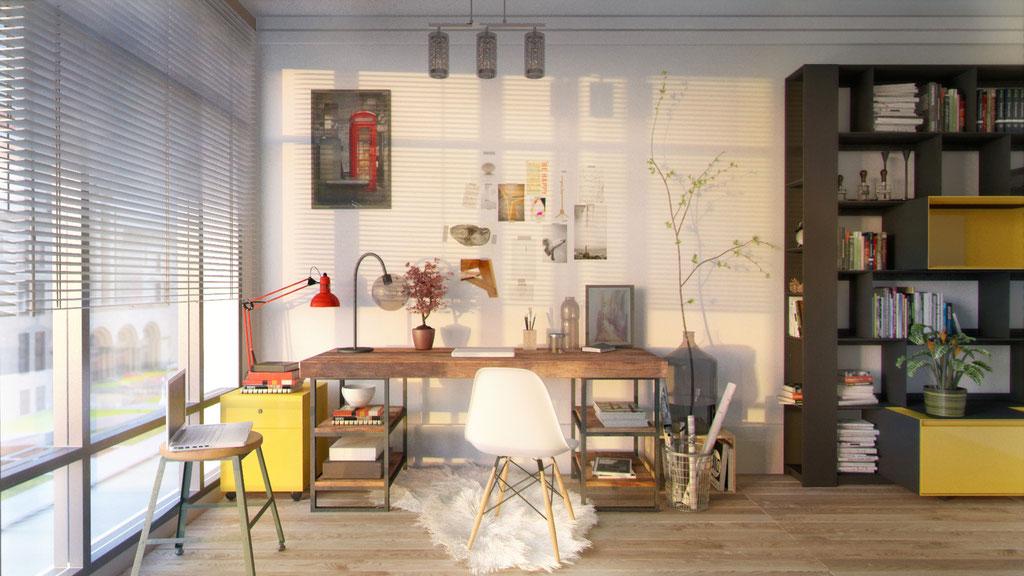 Habitación reconvertida en zona de trabajo. Atardecer