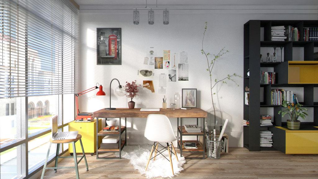 Habitación reconvertida en zona de trabajo. Diurno