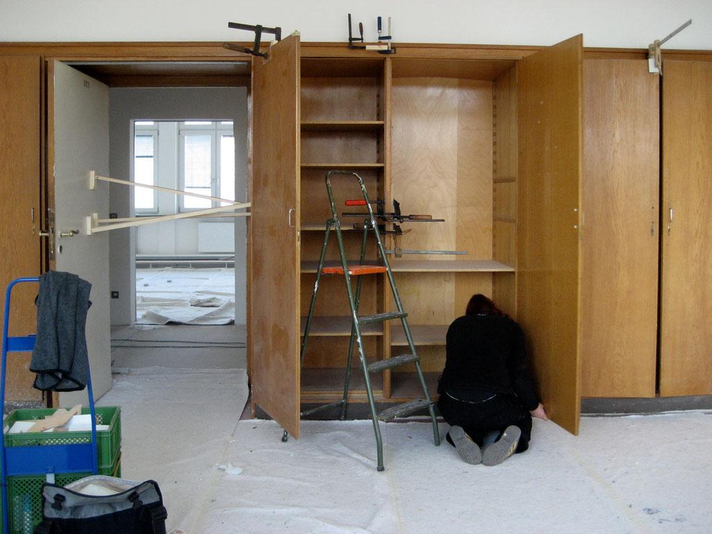 Restaurierungsarbeiten an den Holzeinbauten | Foto: A. Fehse, 2011