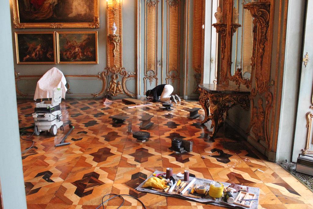 Raum 179 während der Restaurierungsarbeiten | Foto: A. Fehse für SPSG