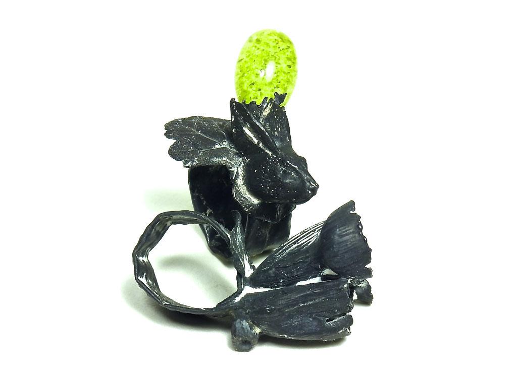 """Ring """"LeeHaly"""" Silber-grüner Bernstein"""