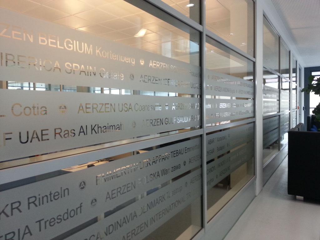 Aerzener Maschinenfabrik - Milchglasfolierung als Sichtschutz