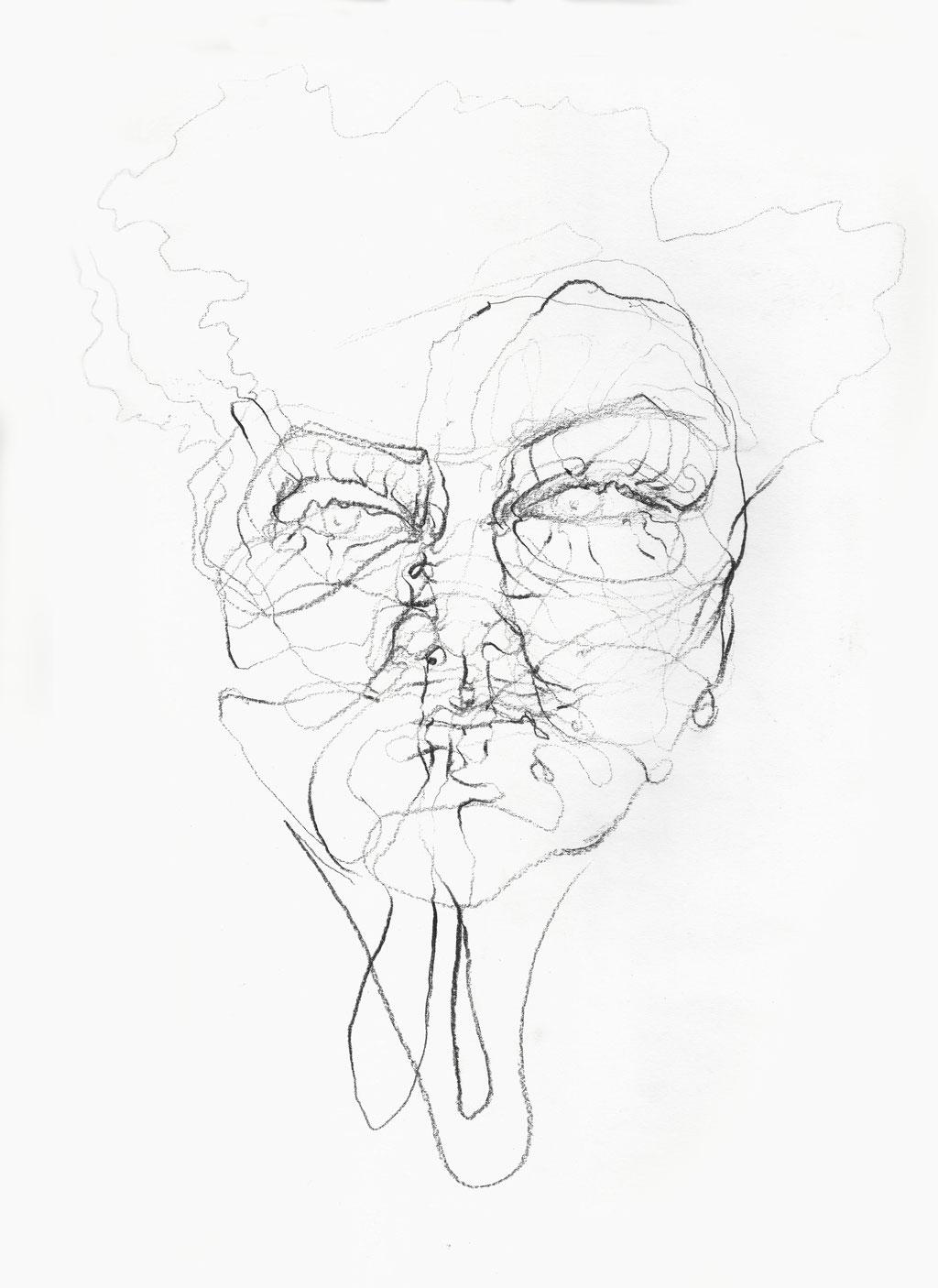 Astrid - Tastsinn, Bleistift auf Papier, 2014, Damaris Rohner