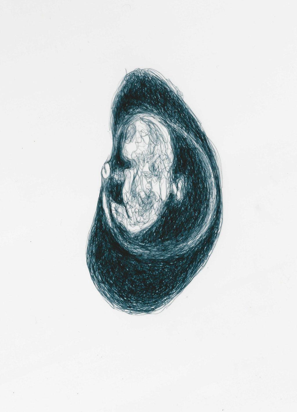 """Titel """"letztes Bild von Elisa"""", Kugelschreiber auf Transparentpapier, 2018, Damaris Rohner"""