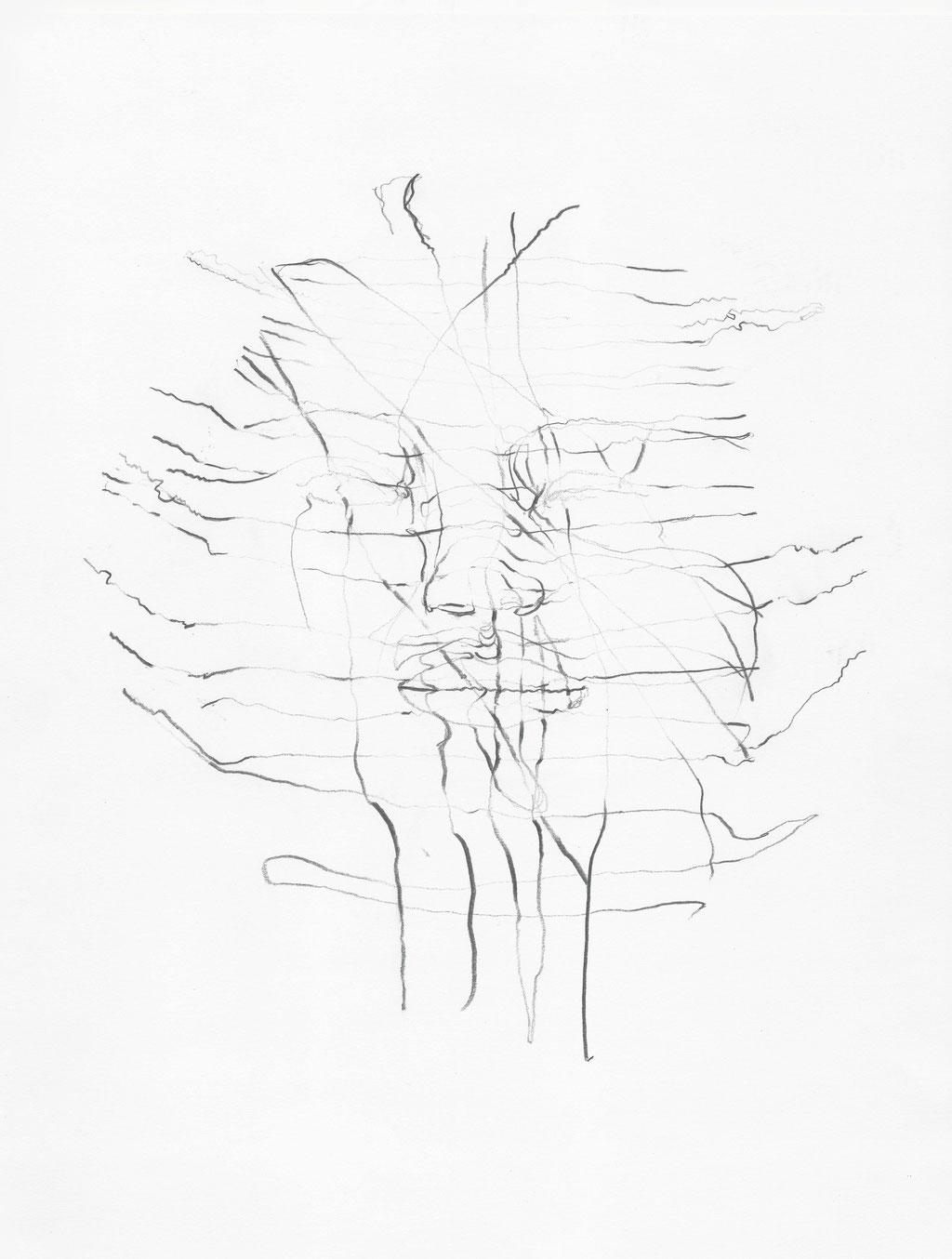 Selbstportrait - Tastsinn, Bleistift auf Papier, 2014, Damaris Rohner