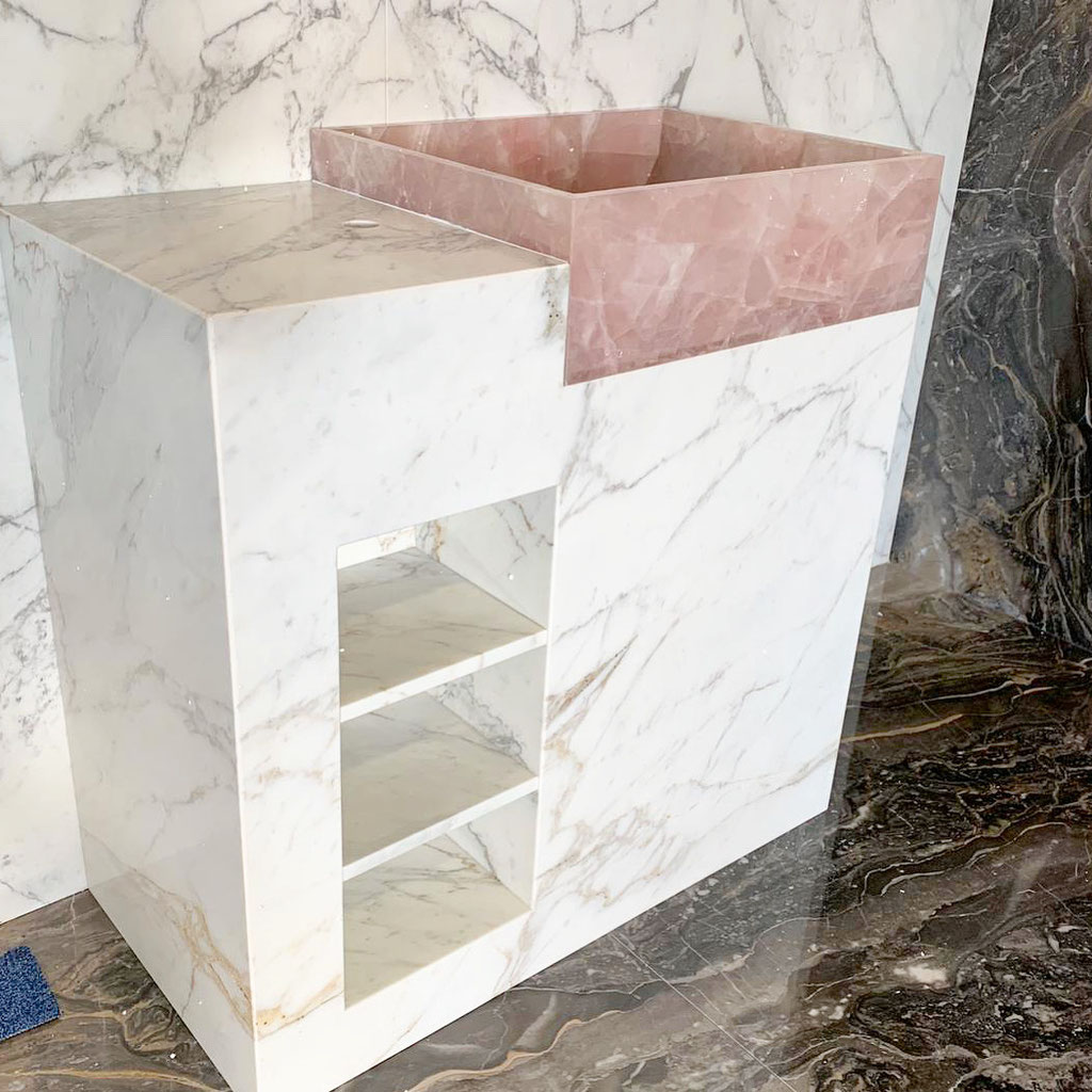 Pink Quartz en Calacatta marmer - Lugo wasmeubel