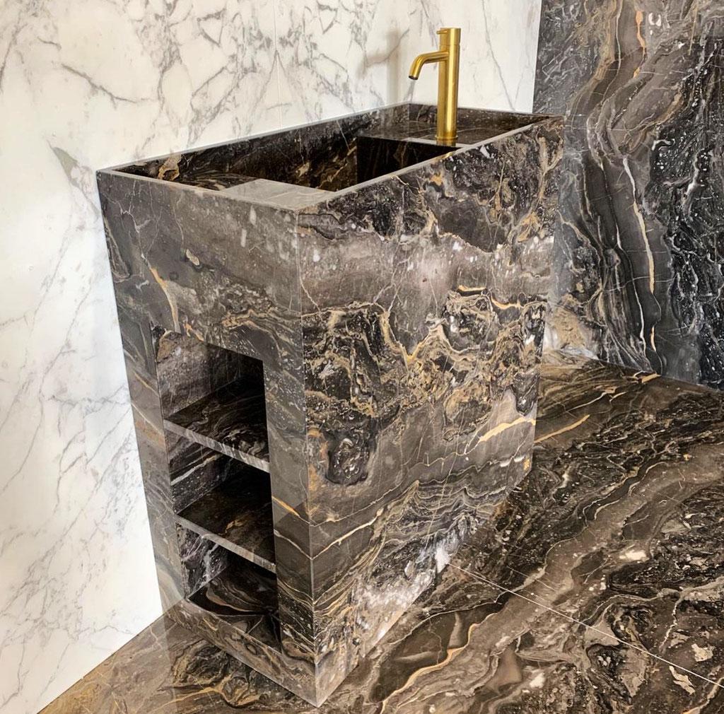 Grigio Orobico marble bathroom element