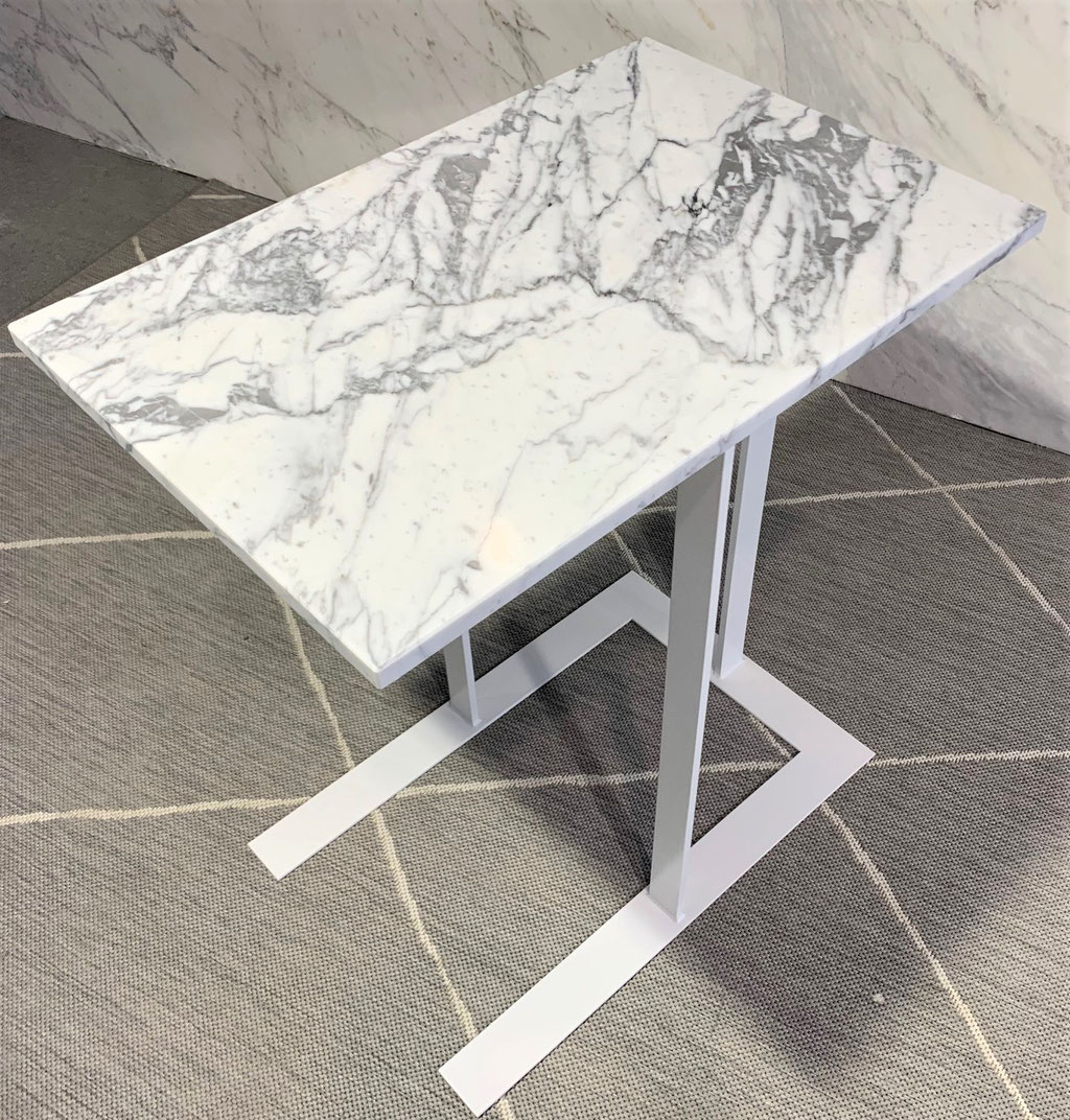 White steel and white marble
