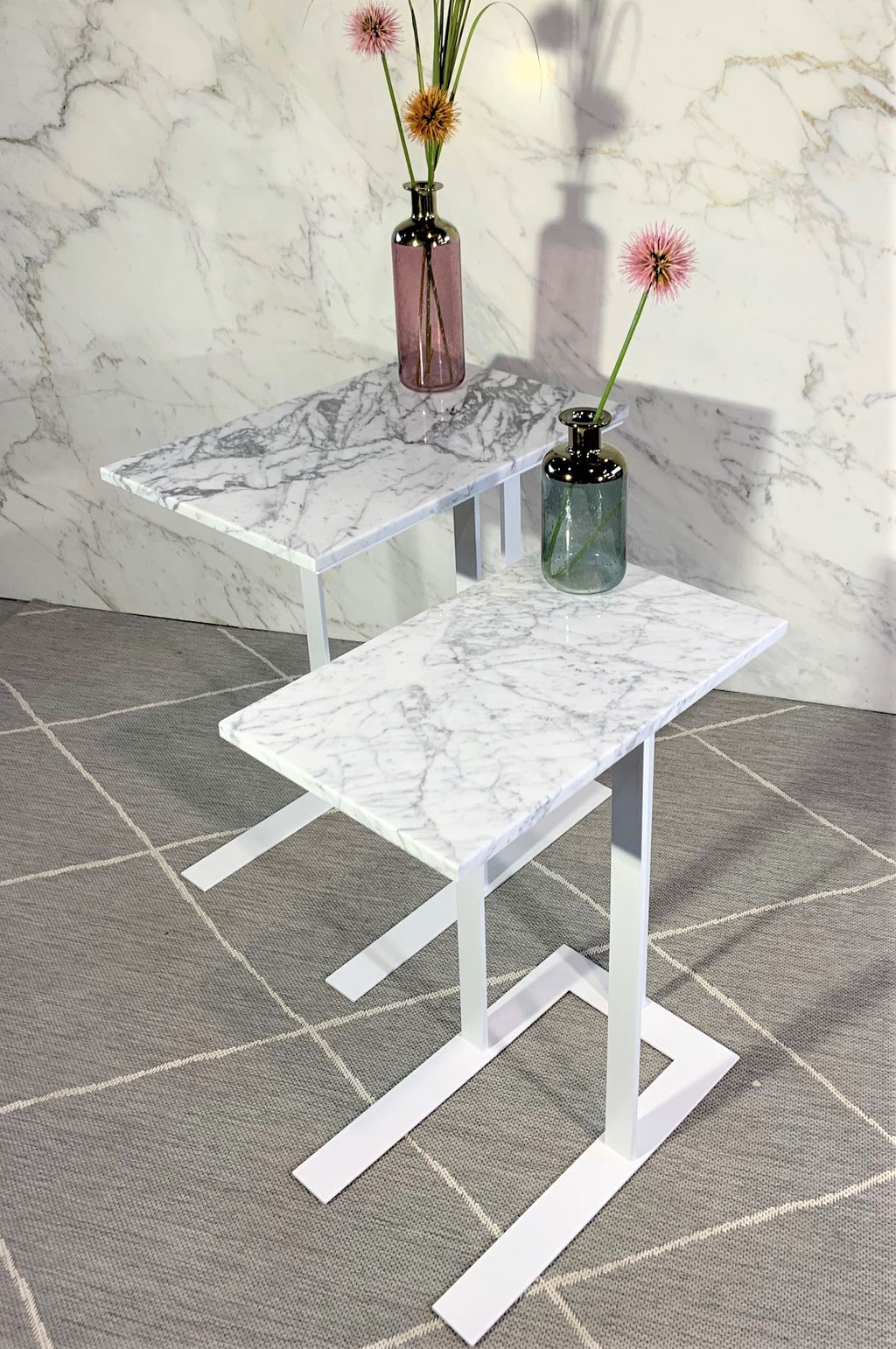 Exclusive white marble side tables