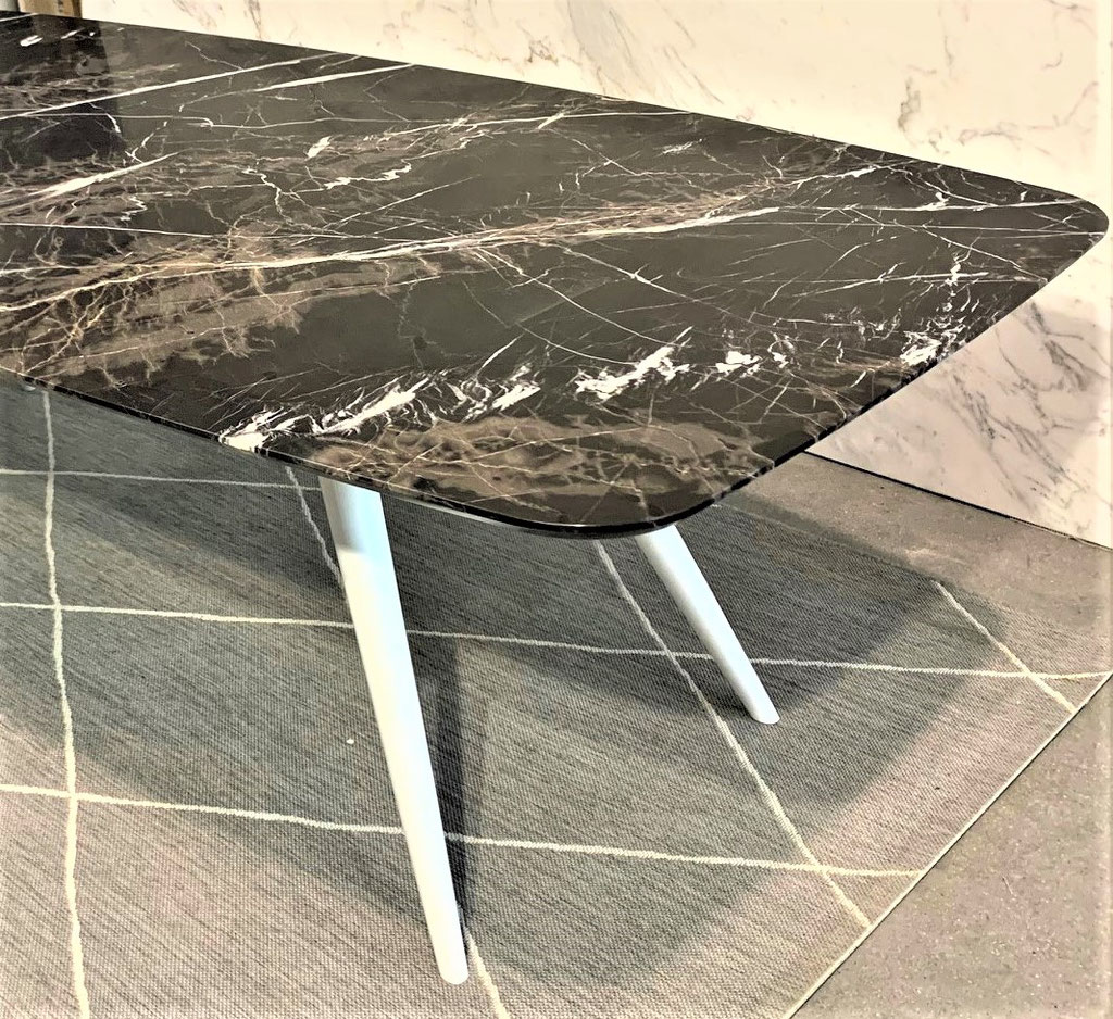 Each marble top is handcrafted in Italy