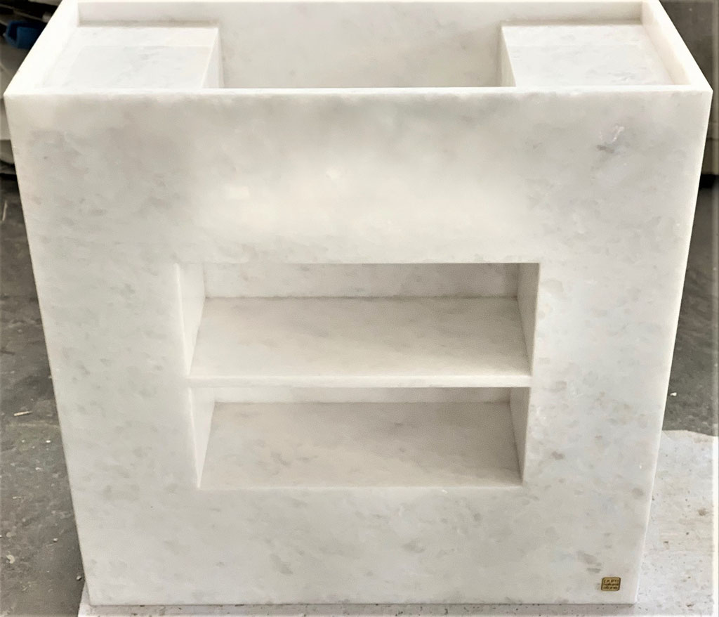 This is Snow White marble with the towel compartment in front
