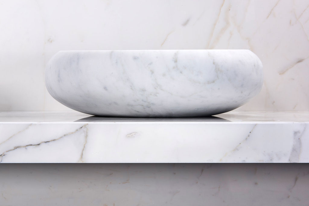 Italian white marble basin