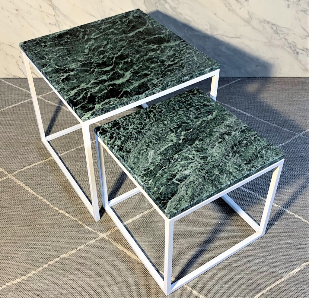 Green marble side table