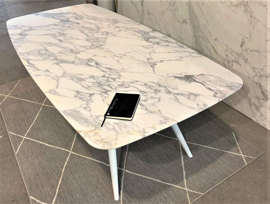 Calacatta White with white steel frame model Lucca