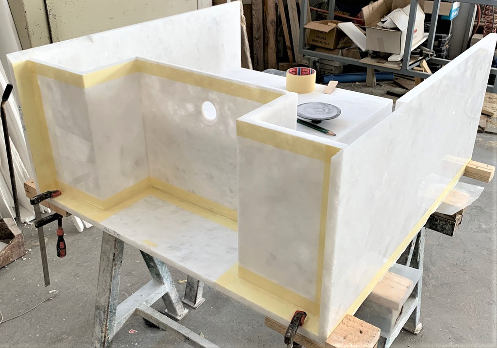 Production of marble bathroom element