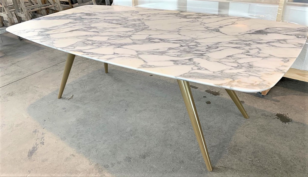 Luxury table with gold powder coating