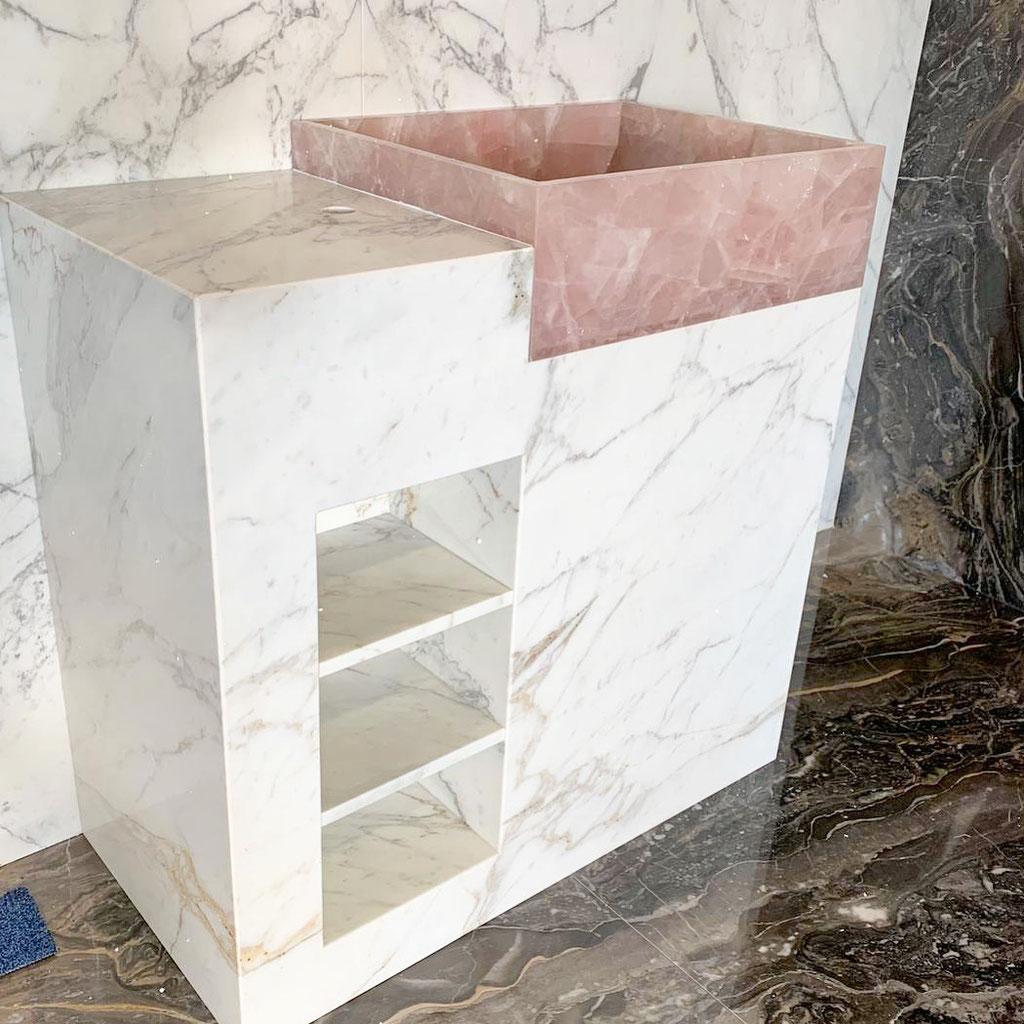 Pink Quartz and Calacatta marble