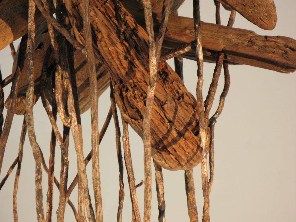 Samson, Skulptur, Bewehrungsstahl, Holz, Kraftobjekte Wolfgang Wallner Hall in Tirol