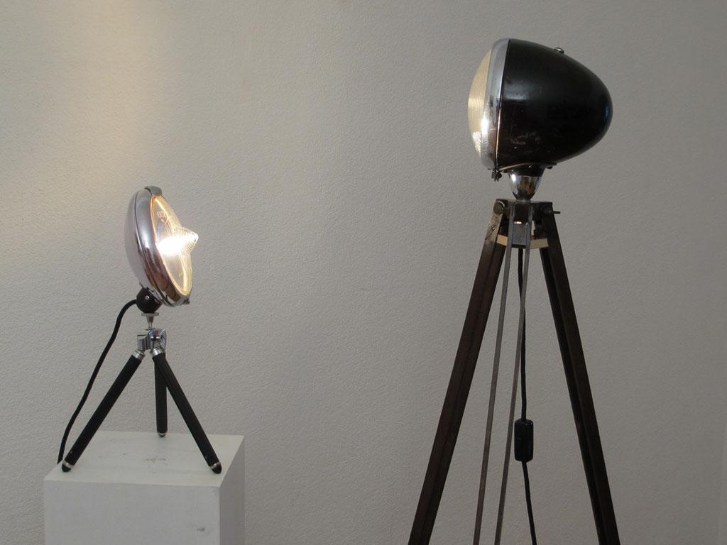 Französische Lampe, Tripot, Tischlampe, Upcycling, Lichtobjekt, Kraftobjekte Wolfgang Wallner Hall in Tirol