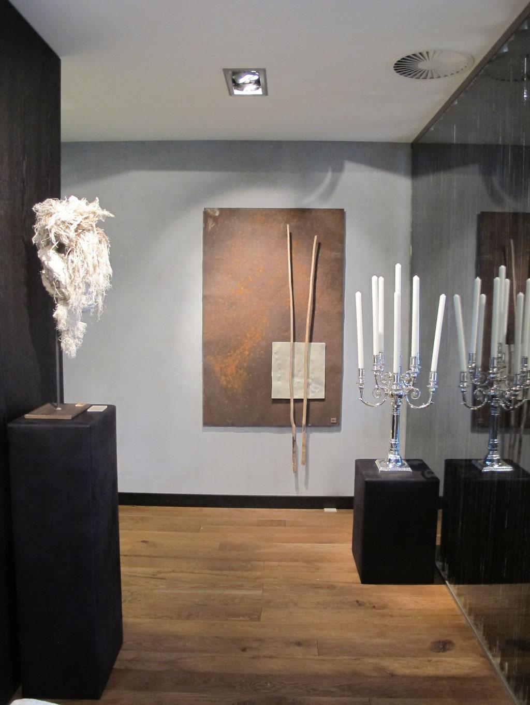 Duo, Assemblage, Skulptur, Metall, Aluminium, Haselruten, Kraftobjekte Wolfgang Wallner Hall in Tirol