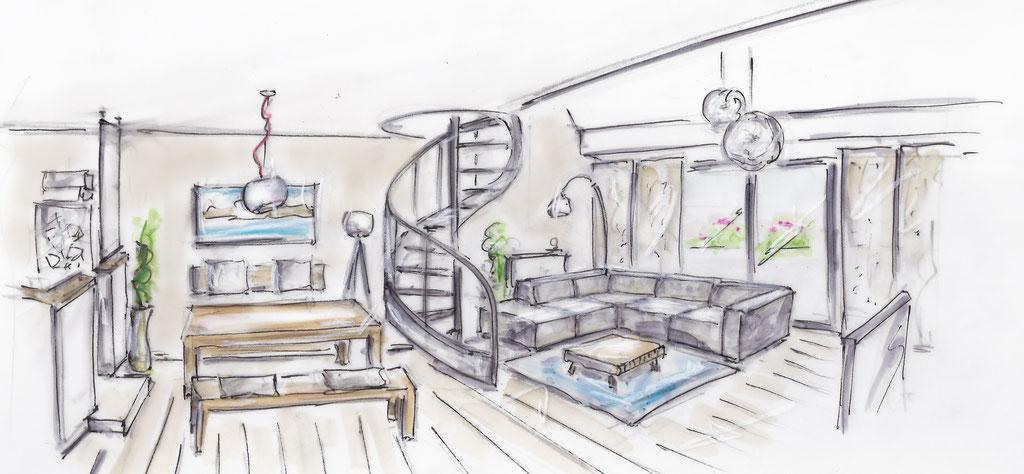 Wohnzimmer - Skizze Planung
