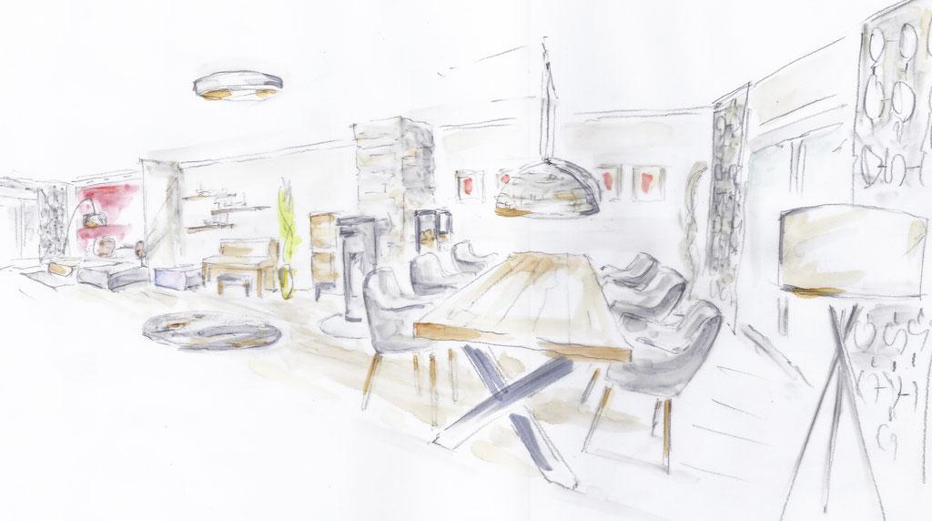 Wohnraumplanung Skizze, Rolf Kullmann Innenarchitekt, Atelier Feynsinn, Köln