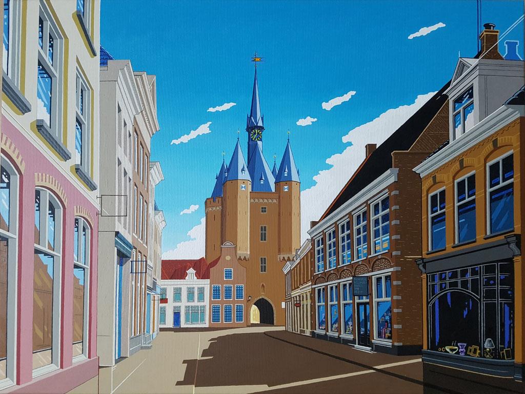Sassenstraat Zwolle, Acryl op doek, 60 bij 80 cm.