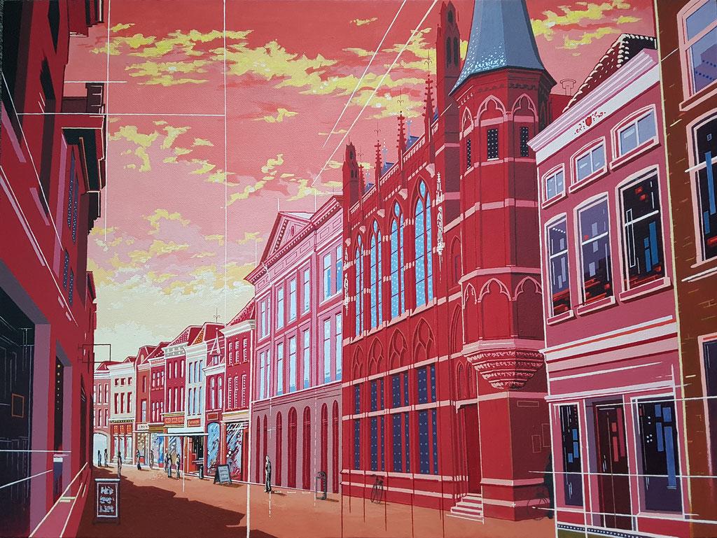 Diezerstraat Zwolle, Acryl op doek, 60 bij 80 cm.