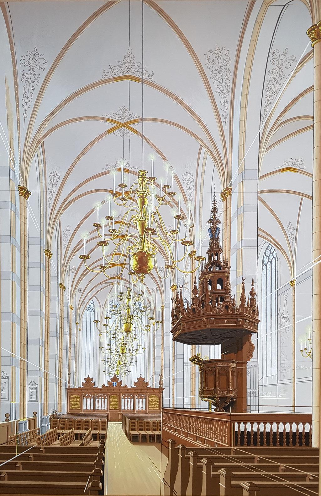 Grote Kerk Zwolle, Acryl op doek, 115 bij 75 cm.