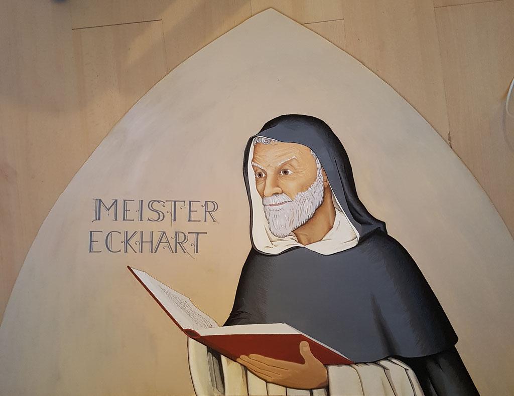 Close Meister Eckart, Acryl op paneel, kloostergang Dominicanenklooster Zwolle.