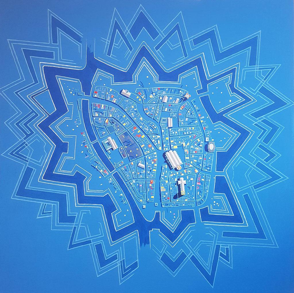Starry Zwolle. Acryl op doek, 60 bij 60 cm.