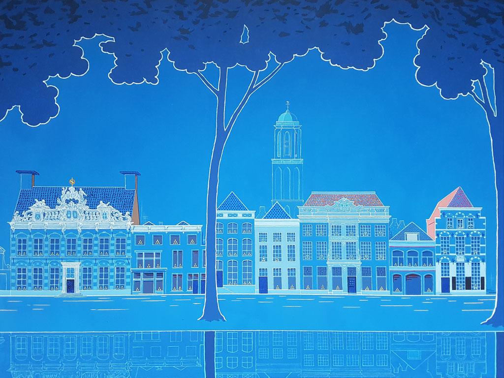 Van Drostenhuis tot Vrouwenhuis, Acryl op doek, 60 bij 80 cm.
