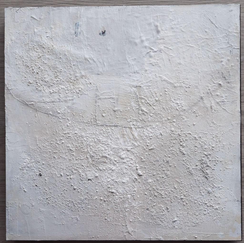 White 8,2019, 40x40, Mischtechnik auf Holzkörper
